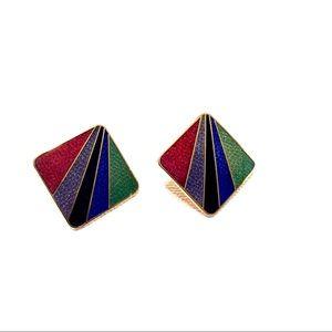 Enamel Earrings Vintage Clip Back